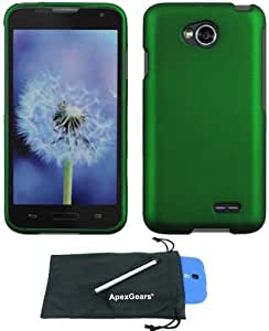 For LG L70 Metro PCS Rubberized Hard Phone Protector Cover Case with Stylus Pen and ApexGears (TM) Phone Bag (Dark Green)
