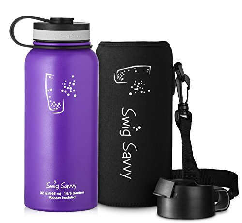 Swig Savvy'Stainless Steel Vacuum Insulated Water Bottle Wide Mouth 32 oz Capacity Double Wall Design 100% Leak & Sweat Proof - Includes water bottles Pouch & Coffee Lid (Purple)