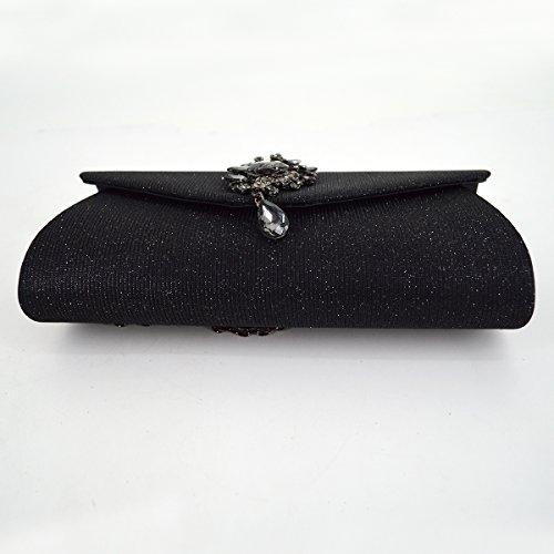Bag Flap with Women Handbag Pendant Clutch Rhinestone Sparkling Dinner Wedding Cocktail Black Meliya Party Bridal Fashion Glitter Purse Evening 1IqRRS