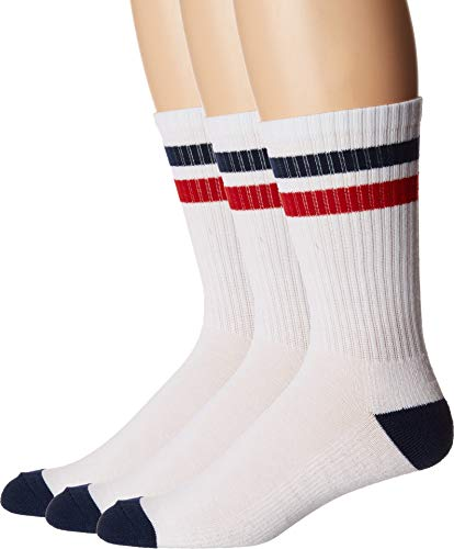 Converse Men's Classic Double Stripe Crew 3-Pair Pack White/Navy/Red 6-12