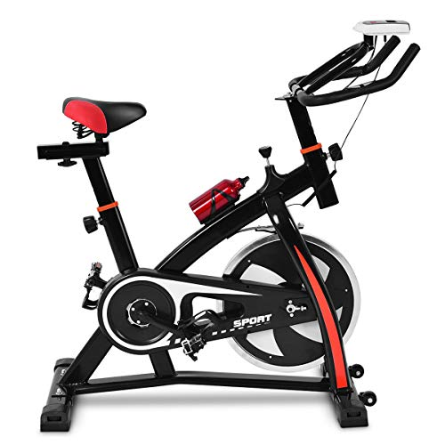 Goplus Adjustable Exercise Bike, Stationary Bike, Indoor Cycle Bike, with Heart Rate Sensors, LCD Display, Professional Exercise Bike for Home and Gym Use ()