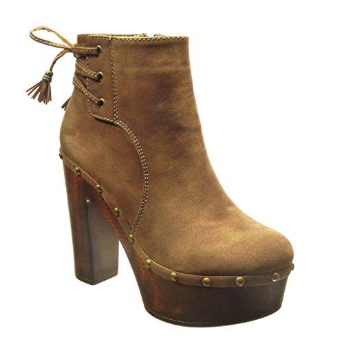 Angkorly - damen Schuhe Stiefeletten - Plateauschuhe - Hohe - Nieten - besetzt - Bommel - Franse Blockabsatz high heel 12 CM - Taupe
