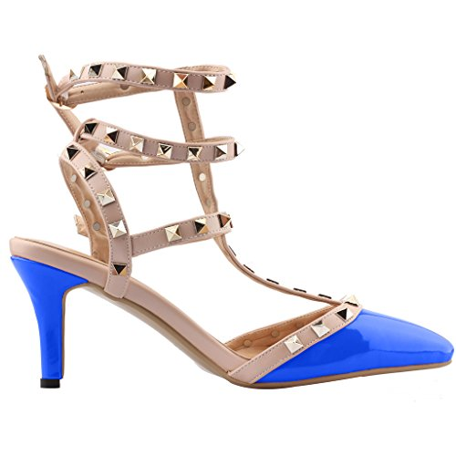 7CM Aiguille VaIris Boucle Chaussures Vaneel Escarpins Bleu Femme qtERwat4