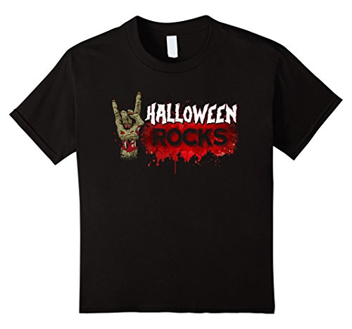 Kids Halloween Rocks T-shirt Zombie Rock & Roll Scary Costume 8 (Glam Metal Halloween Costume)