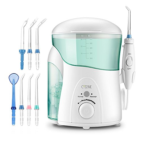 Cheap Dental Water Flosser, Cozzine Water Teeth Flosser Electric Flosser with 7 Replacement Tip Nozzles for Teeth , 30-120 PSI with Pause Button