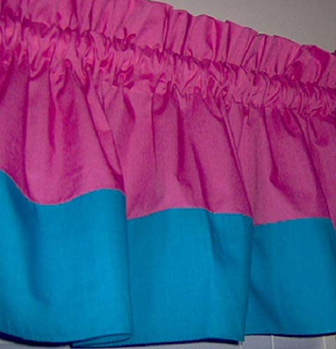 Amazon Com Hot Pink And Turquoise Solid Color Valance Curtain Two