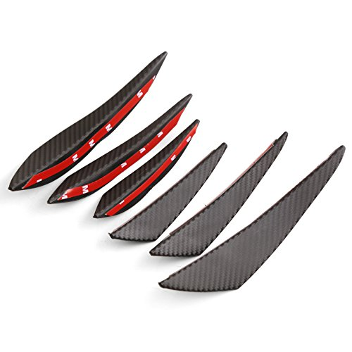DTOUCH Racing Universal Exterior Front Bumper Lip Splitter Fins Spoiler Canards (0989#Carbon) ()