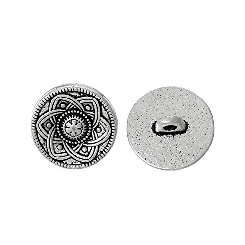HOUSWEETY 30pcs Silver Tone Flower Decorative Metal Buttons Fit Sewing Scrapbook 15mm ()