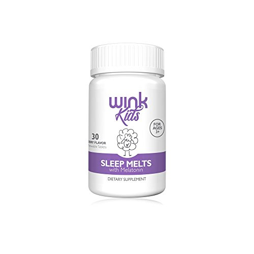 Wink Naturals Kid's Sleep Melts, Natural Sleep Aid Melatonin Supplement for Children, 100% Safe and Effective, 30 Fast-Absorbing Melts