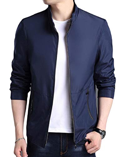 EnergyMen Pockets Stylish Zipper Solid Long Sleeve Stand Collar Outwear Jacket Dark Blue