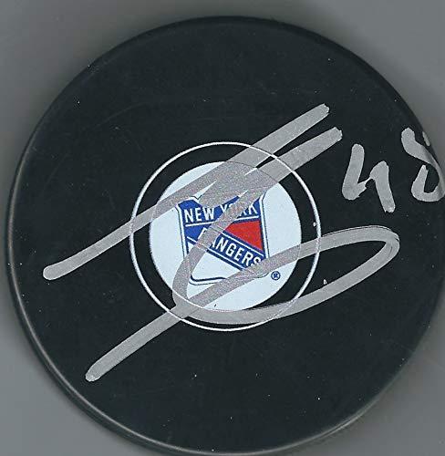 Autographed Brendan Lemieux New York Rangers Hockey Puck