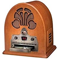Pemberly Row Two-In-One Vintage Cathedral Radio and CD Player