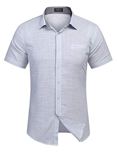 - COOFANDY Men's Regular-Fit Short-Sleeve Solid Linen Cotton Shirt Casual Button Down Beach Shirt Light Grey