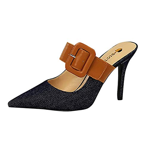 OVERDOES Fashion Women Muller Shoes Pointed with Belt Buckle Slipper High Heels Sandals Dark Blue