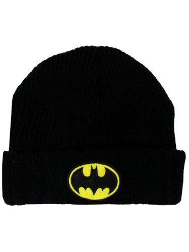Batman para hombre Negro Abofeteado Beanie sombrero de un tamaño más - Gorro logo batman