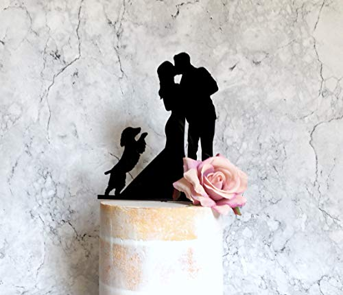 - Spaniel Wedding Cake Topper Bride Groom and Dog Silhouette Cake Topper Couple and Spaniel Cake Topper Cocker Spaniel with Docked Tail