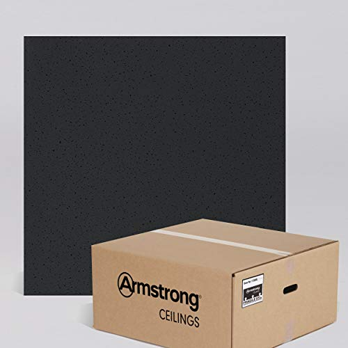Armstrong Ceiling Tiles; 2x2 Ceiling Tiles - HUMIGUARD Plus Acoustic Ceilings for Suspended Ceiling Grid; Drop Ceiling Tiles Direct from the Manufacturer; FINE FISSURED Item 1728BL - 16 pc Layin Black