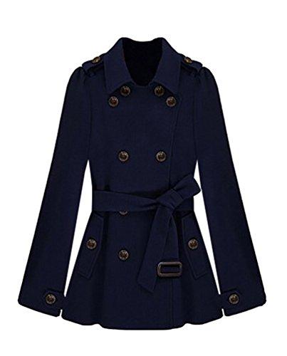 Coat Poncho Chaud Bleu Wanyang Laine Mode Double Manteau Peignée Femmes Boutonnage Pour Hiver Cape OzYgzw7q
