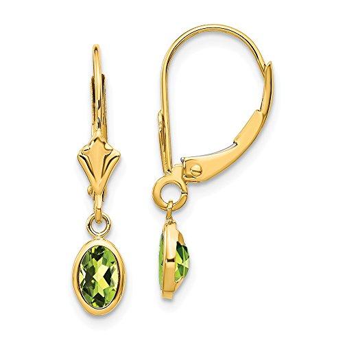 14K Yellow Gold 6x4 Oval Bezel August/Peridot Leverback Earrings