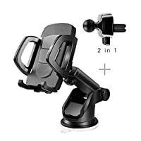 Car Phone Holder, Adjustable and Universal Dashboard Air Vent Car Mount Windshield Holder Cradle with Strong Sticky Gel Pad for Smartphone