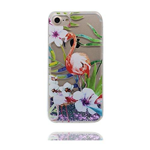 """iPhone 6 Plus Coque, Bling Glitter Fluide Liquide Sparkles Sables iPhone 6s Plus étui Cover (5.5""""), iPhone 6 Plus Case (5.5""""), Shell anti- chocs-(Grand Flamant) et Bouchon anti-poussière"""