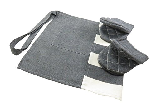Denim Waist Half Apron One Pocket With Oven Mitts Kitchen Cooking Black (Bundle of (Denim Oven)