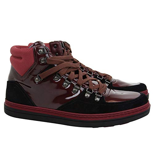 31b848833f71 Gucci Contrast Combo Dark Red Patent Leather Suede High top Sneaker 368496  1078
