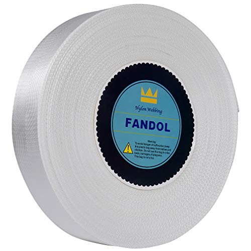 (FANDOL Nylon Webbing - Heavy Duty Strapping for Crafting Pet Collars, Shoulder Straps, Seatbelt, Slings, Pull Handles - Repairing Furniture, Gardening, Outdoor Gear & More (1 inch x 50 Yards, White))