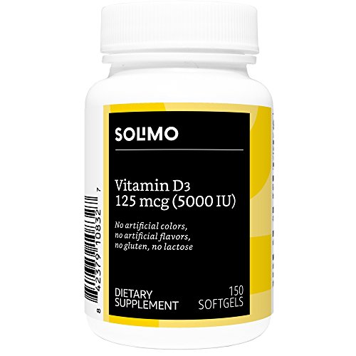 Amazon Brand - Solimo Vitamin D3 125 mcg (5000 IU), 150 Softgels, Five Month Supply