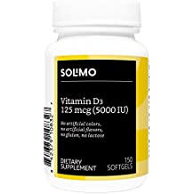 Amazon Brand - Solimo Vitamin D3 125mcg (5000 IU), 150 Softgels, Five Month Supply