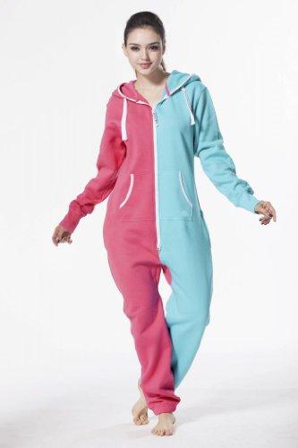 Juicy Trendz Diseñador Señoras Mujeres Uno Cremall Onesie Capucha Chandal PINK-Turquoise