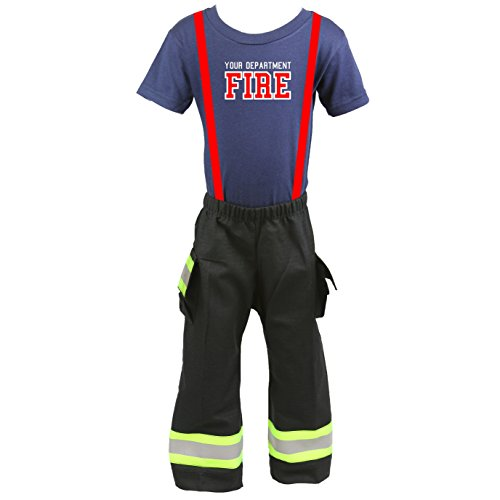 Firefighter Toddler Outfit Pant and Shirt BLACK with Yellow Reflective (3T) (Das Bunker Halloween)