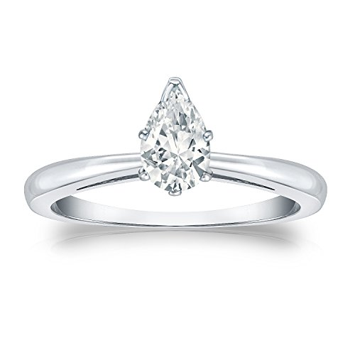 Diamond Wish 14k White Gold Pear Shaped Solitaire Diamond Ring (1/2ct White, SI1-SI2) V-Prong Set, Size 7 ()