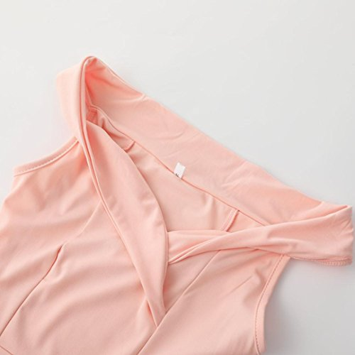 per Vestito scoperte donna Il irregolare Rosa con senza Fami Cocktail da vestito maniche donna forcella spalle della Hqr8HFwz