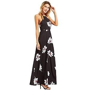 Floerns Women's Sleeveless Halter Neck Vintage Floral Print Maxi Dress