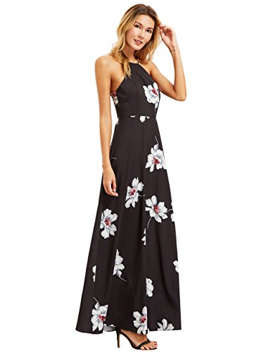 (Floerns Women's Sleeveless Halter Neck Vintage Floral Print Maxi Dress Black L)