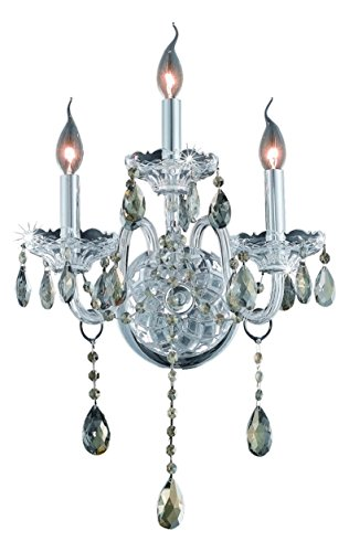 (Royal Cut Smoky Golden Teak Crystal Verona 3-Light Crystal Wall Sconce, Finished in Chrome with Smoky Golden Teak Crystals)