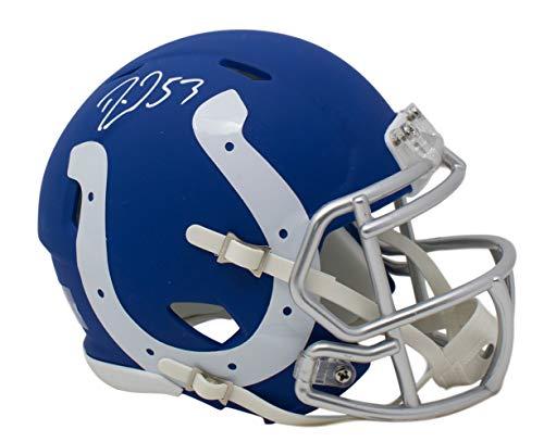 Darius Leonard Signed Indianapolis Colts Mini Speed Matte Black Helmet JSA