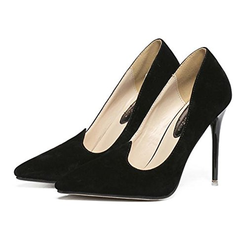 Thin black Shoes Heel cut High Club Night Suede Low Pointed wtnax1PU