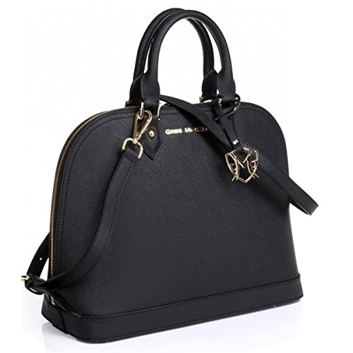 The Isabelle Tote in Black with embossed or w/o embossed Signature by Greg Michaels (Black)
