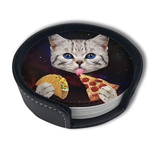 Space Cat With Taco And Pizza Coasters For Drinks With Holder, Leather Coasters Set Of 6, Round Cups Mugs Mat Pad For Home Kitchen