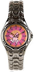 Disney Piglet Relaxing Brush Metal Band Watch Womens/Teens