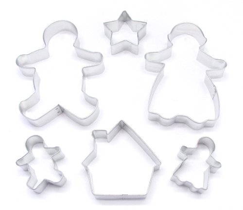 R & M Super Cute Gingerbread Family 6 Piece Cookie Cutter Set - Large and Small Gingerbread Cutters Including House and Star, Perfect Collection for Holiday Memory Making  5