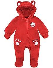 Minizone Baby fleece snödräkter med huva sparkbyxor fotad overall spädbarn tjock body höst vinter kläder