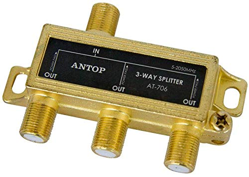 Buy ANTOP 3 Way Antenna Coaxial Splitter ,TV Signal Splitter 2GHz- 5-2050MHz - Low-Loss RF Splitte...