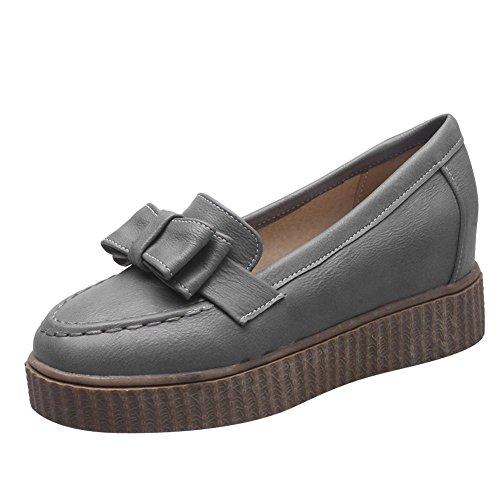 Barnsteen Dames Strikken Retro Mode Platform Verborgen Hak Loafers Schoenen Grijs