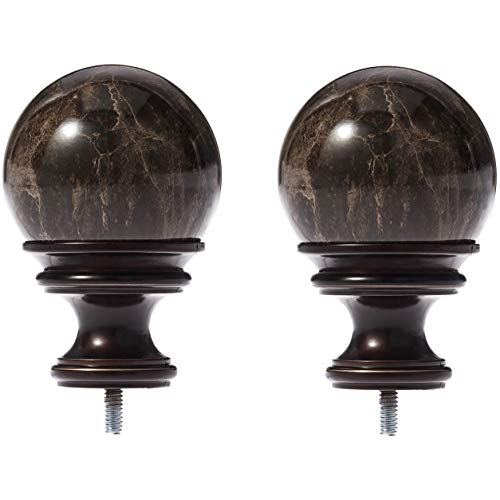 AmazonBasics Black Marble Ball Curtain Rod Finials, Set of Two, Bronze