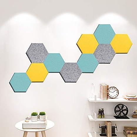 10 unidades tablero de anuncios de fieltro hexagonal Tablero de corcho para azulejos con autoadhesivo para mantener recuerdos y fotos beige A