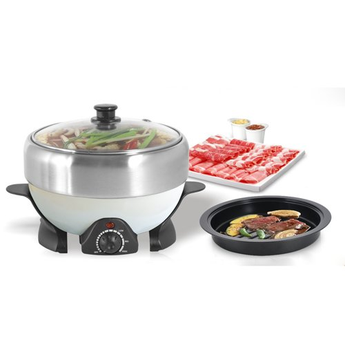 Nec 2 Button (2.0 Qt NEC-202B Electric Shabu Shabu and Grill For Traveling , Party By C&H Solutions)
