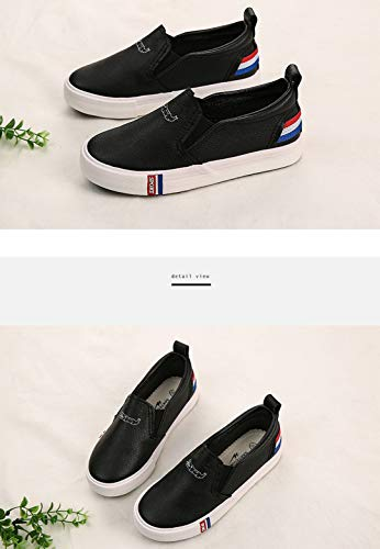 iDuoDuo Boy Girl Soft PU Leather Flat Leisure Shoes Fashion Stripes Loafers Black 2 M US Little Kid by iDuoDuo (Image #6)